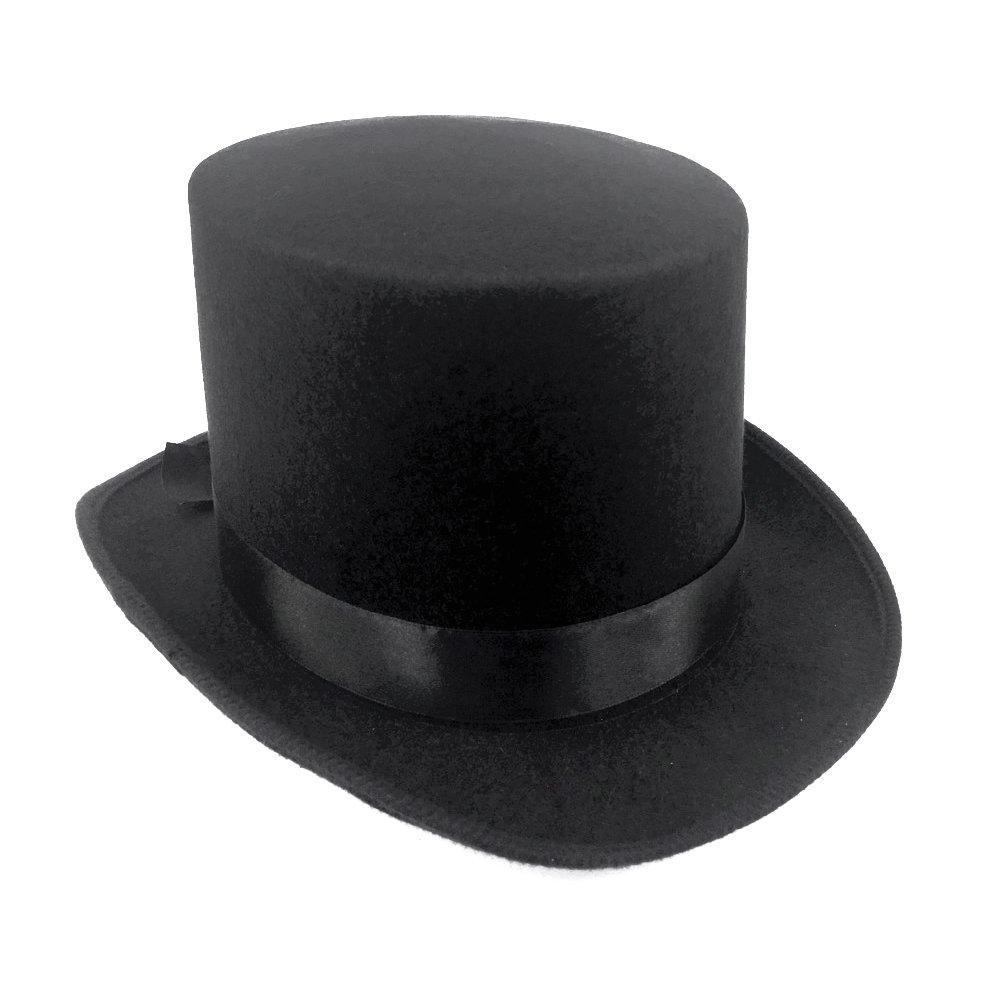 JJMS Brand Fantastic Black Top Hat Great Quality Hard Felt top Hat C-TH