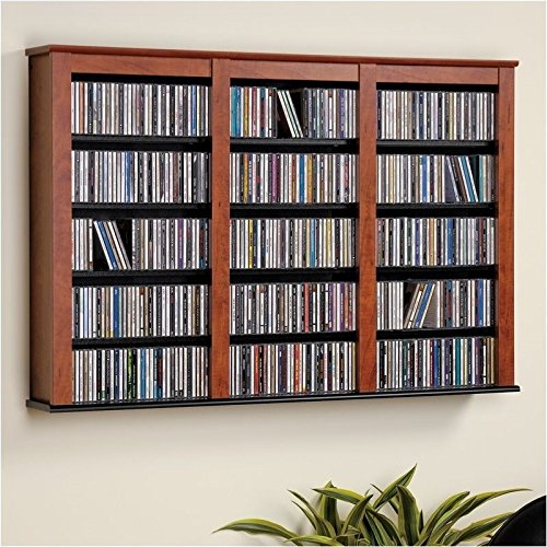 Pemberly Row Triple Floating Media Wall Storage in Cherry and Black