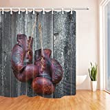 SZDR sports equipment decorative shower curtain, Thai boxing gloves.bathroom accessories, 69X70 inches, perfect anti-mildew polyester fabric shower curtain