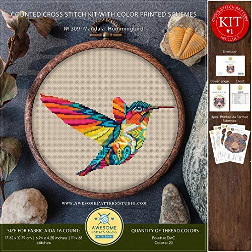 Hummingbird Cross Stitch Pattern - Mandala Hummingbird #K309 Embroidery Cross Stitch Kit | Funny Animals Stitching | How to Cross Stitch | Cross Stitch Designs | Embroidery Designs