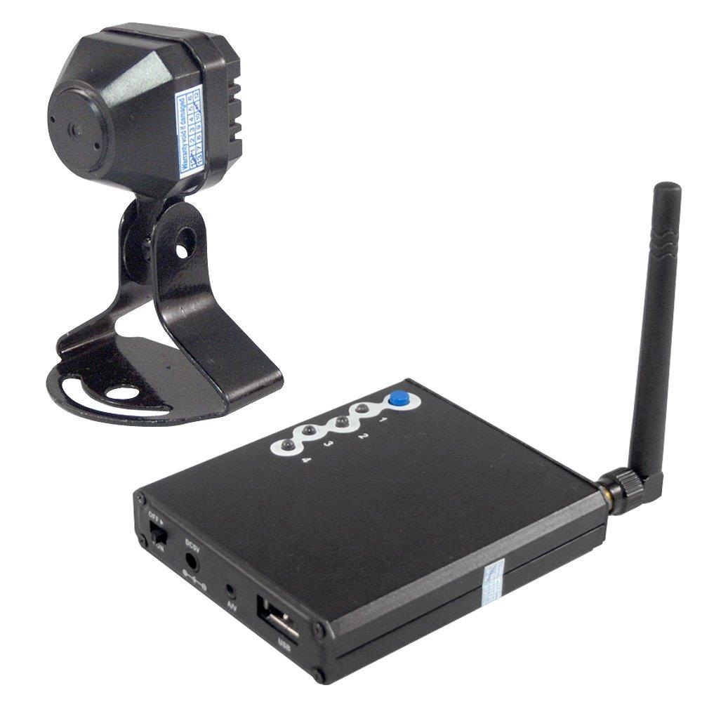 無線カメラ&受信機セット!! ボタンひとつでカメラ映像切替可能!! 最大4台まで電波受信いたします!!(※TVに出力致します) (1台セット) B01DEW8MVO  1台セット
