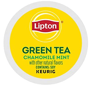 Lipton Green Tea K-Cup Portion Pack for Keurig Brewers, Soothe Green Tea with Chamomile Mint, 24 Count