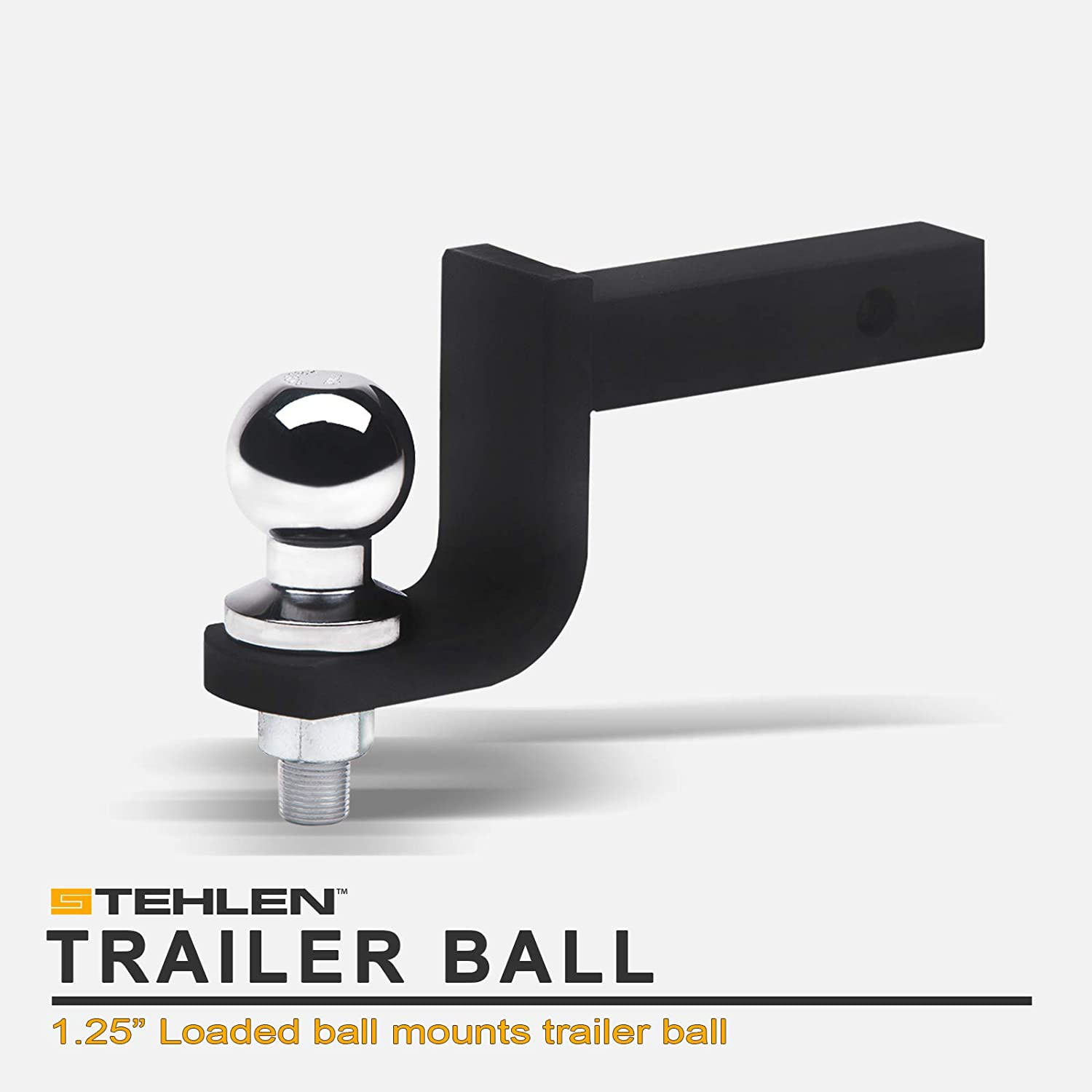"""Stehlen 642167819257 Universal Trailer Hitch 3.25 Inch Drop Loaded Ball Mount Receiver 1.25"""" - Silver With Polished Chrome"""