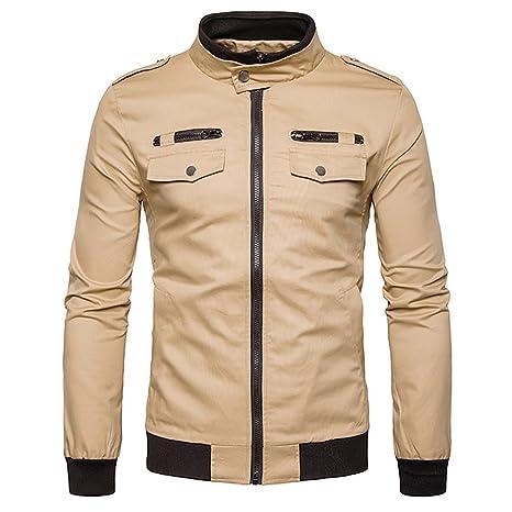 FeN Chaqueta para hombre-color sólido Stand Collar abrigos Moda cómodo negocio prendas de vestir