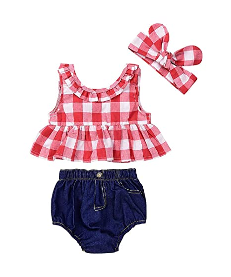 a7b88c9c5a18 Infant Baby Girl Outfit Wildflowers Cross Vest Ruffled Leaf Short Pants  with Headband Clothing (tag