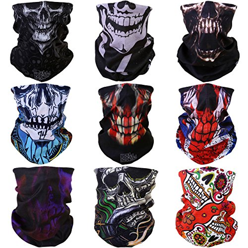 (GraceMe 8PCS 9PCS Multifunction Magic Motorcycle Outdoor Sport Seamless Colorful Tube Half Face Mask Wrap Headband Scarf (Skull)