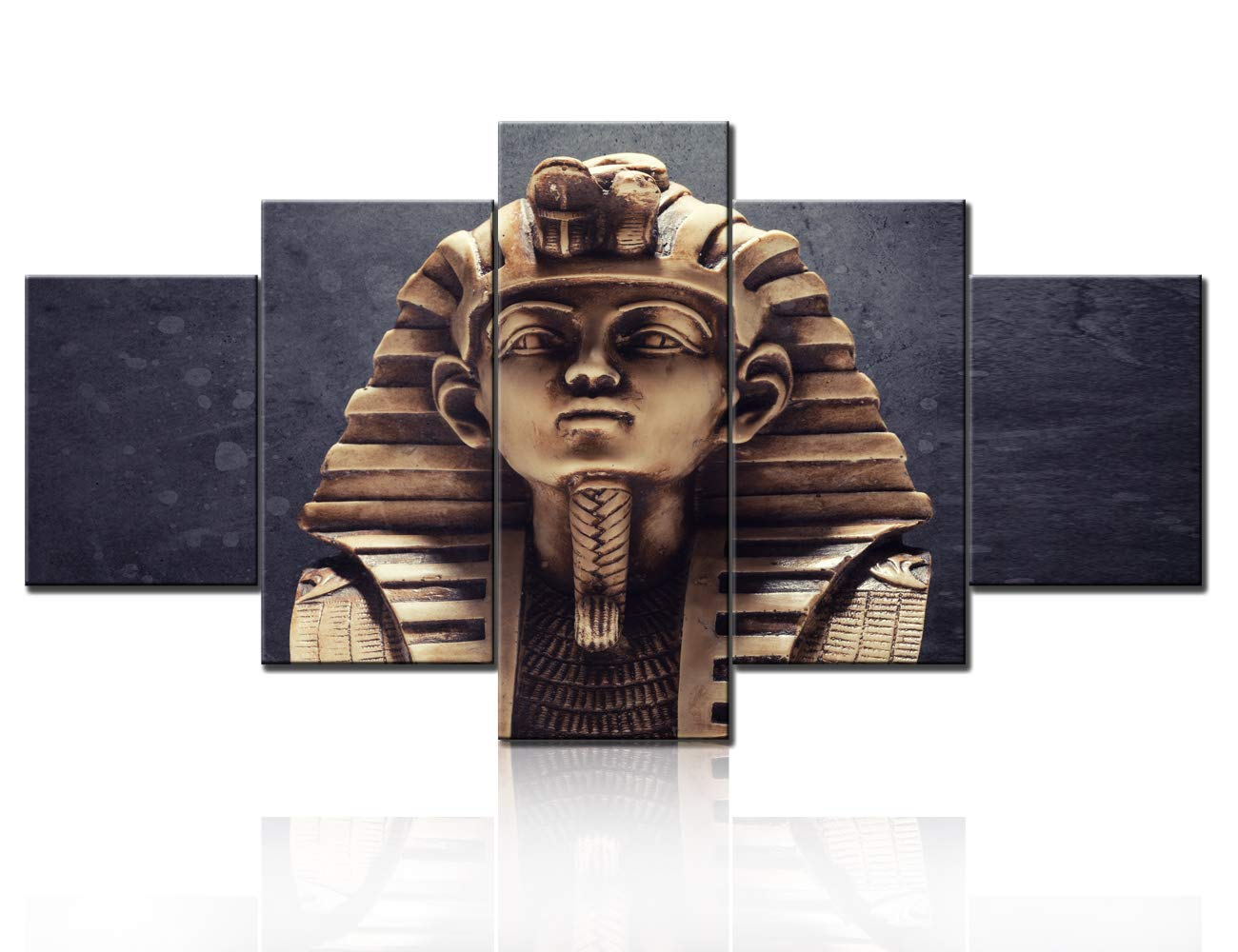 Wall Pictures for Living Room Egyptian Pharaoh Tutankhamun Paintings 5 Panel Canvas Wall Art Modern Home Decor HD Prints Ancient Sculpture Artwork Framed Gallery-Wrapped Ready to Hang 60Wx 32H