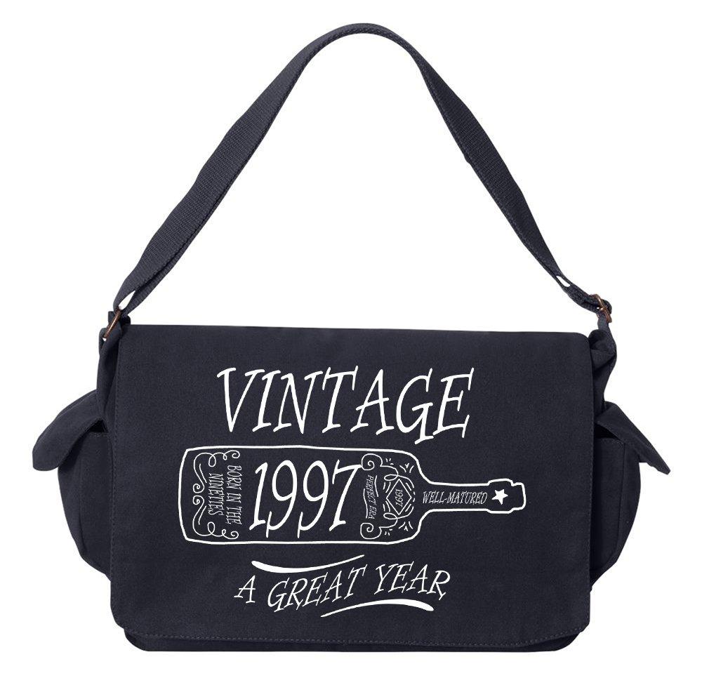 Tenacitee Aged Like a Fine Wine 1997 Navy Brushed Canvas Messenger Bag
