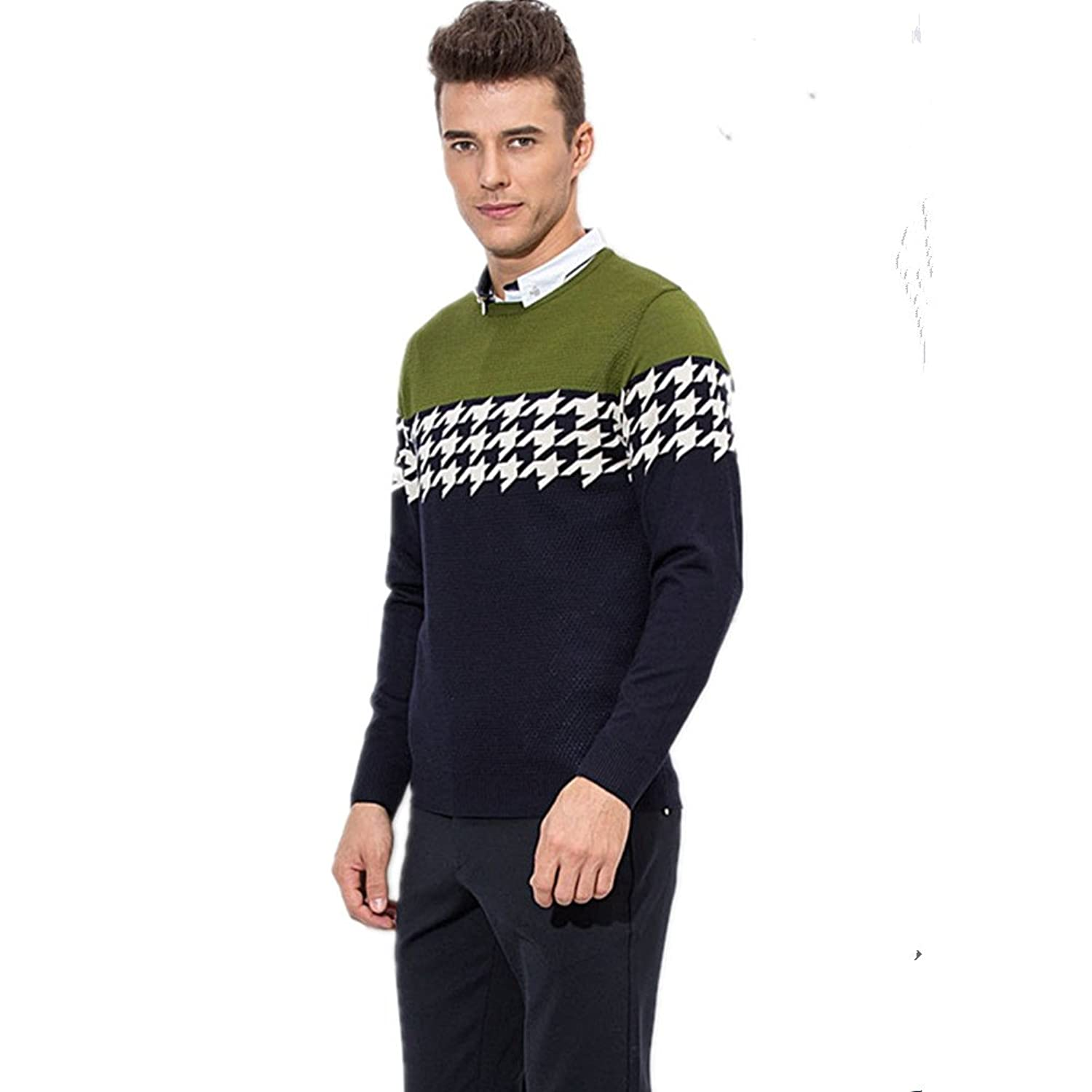 Swing Autumn Winter Men's Wool Blend Fair Isle Crew Sweater jumpers cardigans With Swing Packing Bag