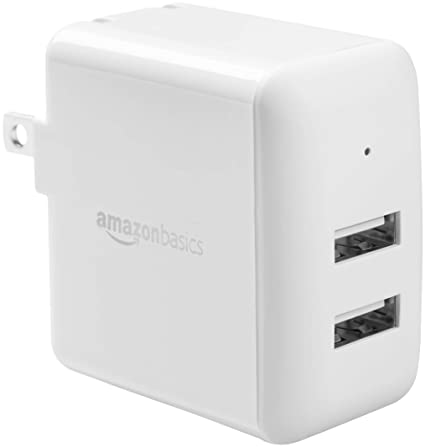 AmazonBasics Dual-Port USB Wall Charger for Phone, iPad, and Tablet, 2.4 Amp, White