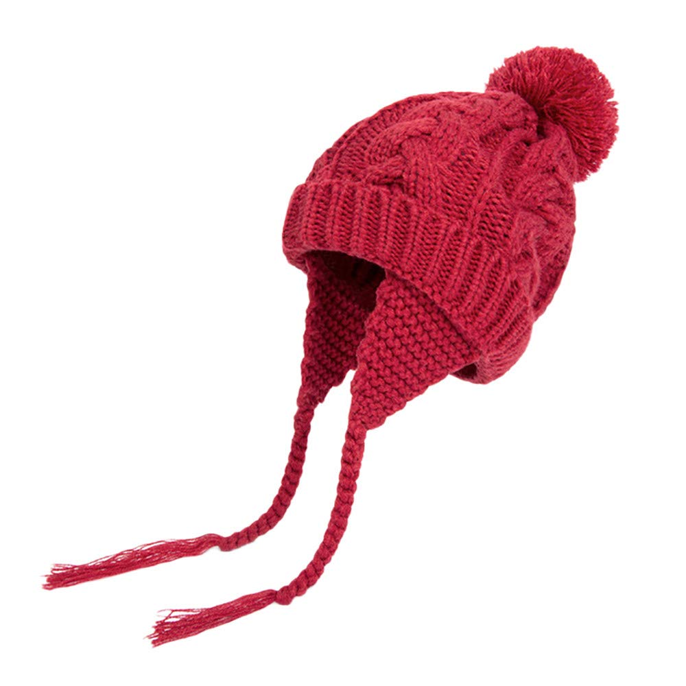 Clemunn Toddler Baby Fall Winter Warm Earflap Beanie Hat Kid Knit Hat 6M-6T Beige)