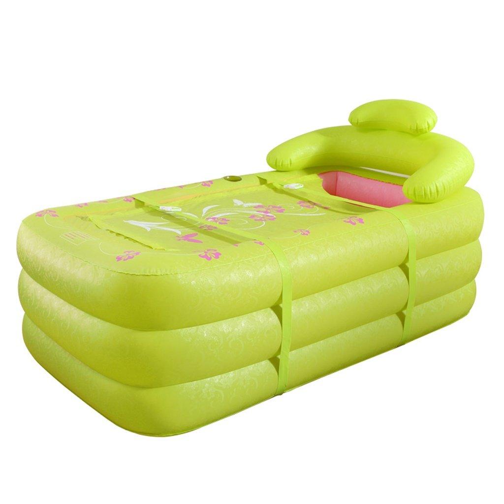 Green Sunjun& Two People Inflatable Tub Thickening Bath Tub Plastic Folding Bath Tubs Bathtubs Adult ( color   Pink )