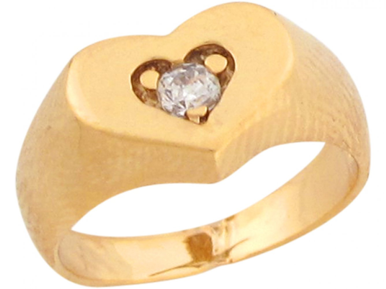 10k Real Yellow Gold White CZ Heart Shaped Cute Baby Girls Ring by Jewelry Liquidation (Image #2)