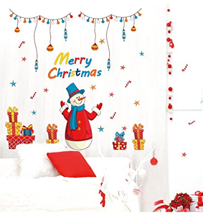 mreey christmas home decor wall stickers santa claus removable room decor wall decals window clings for - Amazon Christmas Home Decor