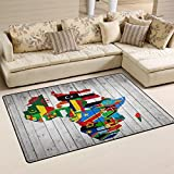 WellLee Area Rug,Africa Continent Flag Map Wood Floor Rug Non-Slip Doormat for Living Dining Dorm Room Bedroom Decor 31x20 inch
