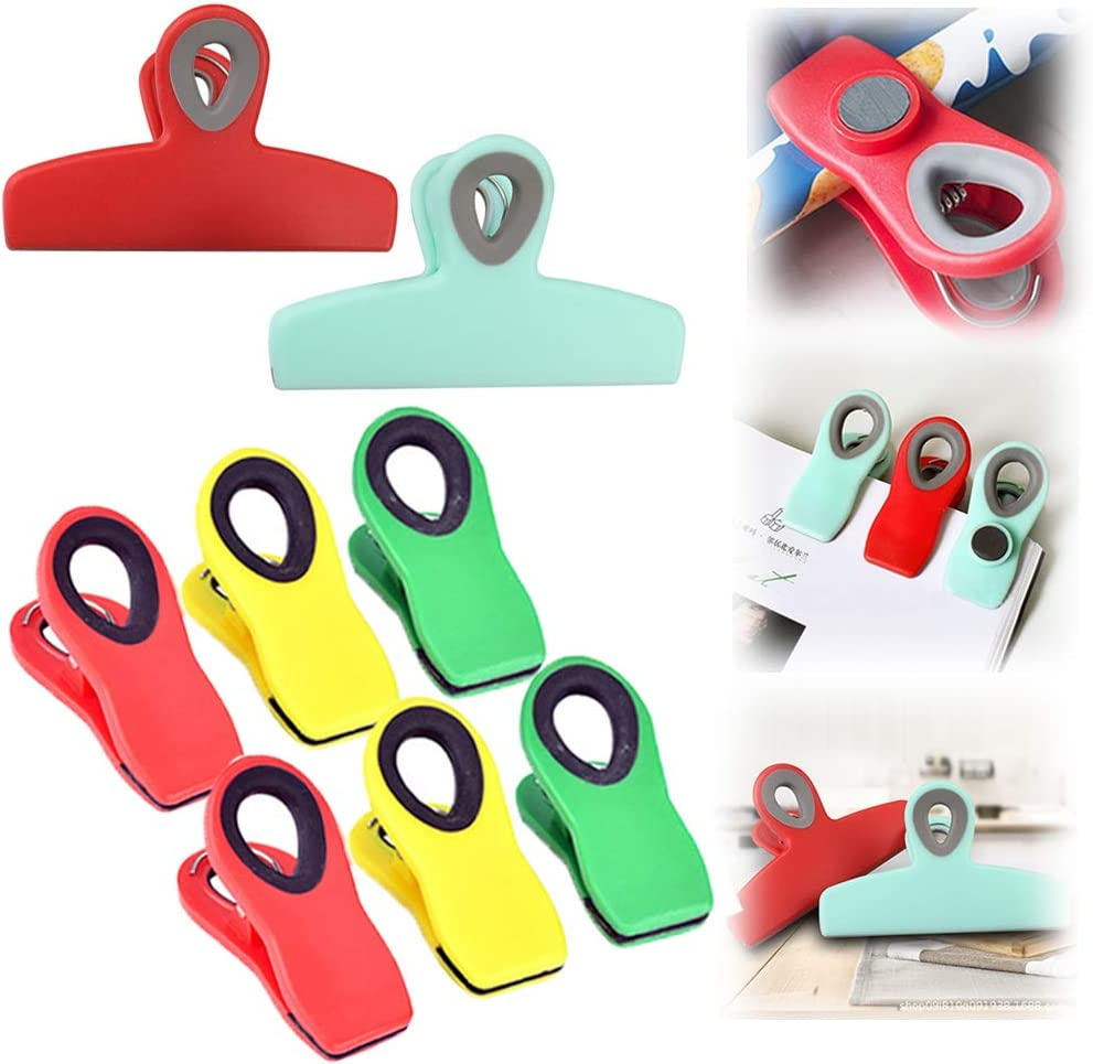 8 PACK Chip Clips Magnetic, 2 Large Heavy Duty Chip Clip and 6 Refrigerator Magnet Clips, Cook with Color Chip Clips, Multicolored Chip Clips for Food Storage Home Kitchen Office School Supplies