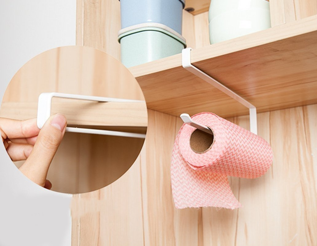 Cabinet Cupboard Under Shelf Storage Rack Paper Towel Roll Dispenser Napkins Holder Trivet DreamColor