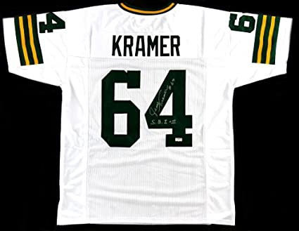 Jerry Kramer Signed Green Bay White Custom Jersey With quot S.B. I    II quot  Inscription 0906990e0