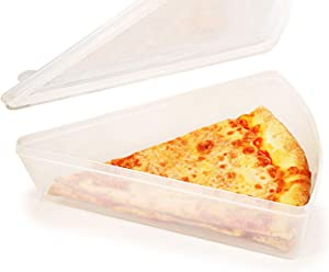 Jumbo New York Pizza Slice Clear Plastic Container - Microwaveable and Freezer Friendly, BPA-Free, Easy Open/Close Lids, Fit Multiple NY Pizza Slices, Stackable Container w/Lid