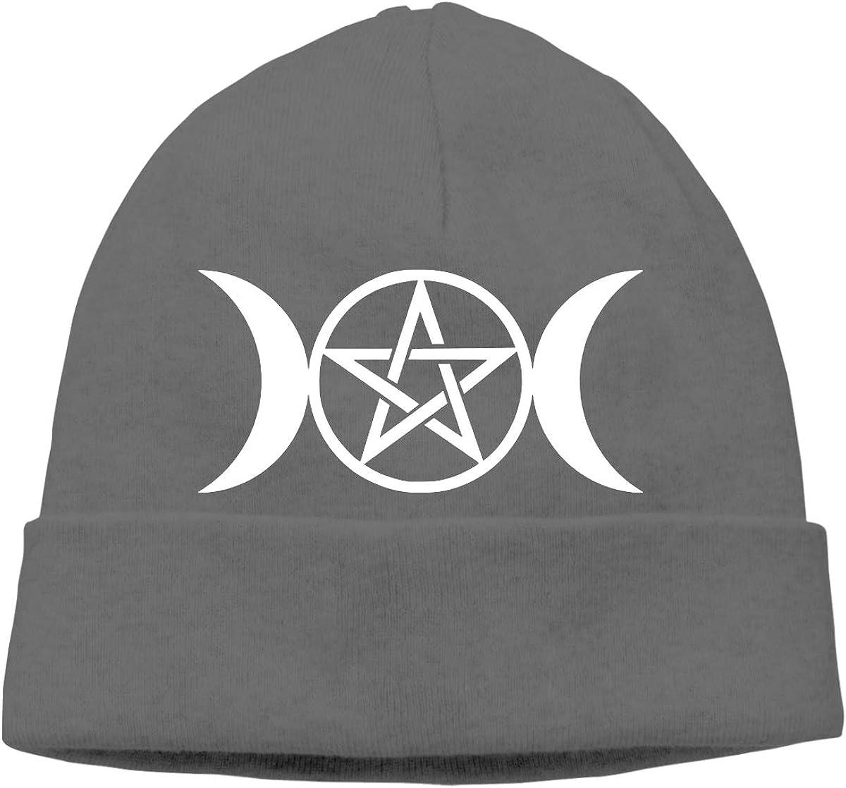 JTTYU Triple Moon Pentacle Pagan Platinum Unisex Winter Warm Hats Men Women Hat Skull Cap