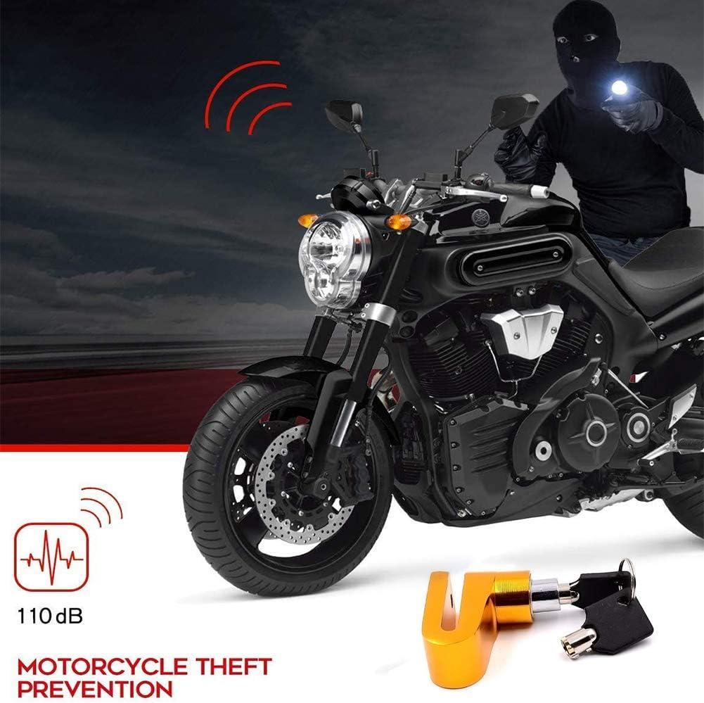 f/ür Motorrad INTVN Gelbes Motorrad-Alarm-Scheibenschloss