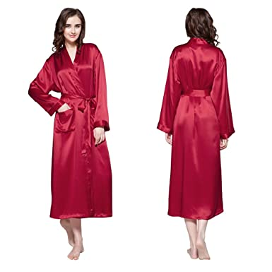 5f1ebf94e9 LilySilk Silk Robes for Women Red Long Sleeve 100 Natural Pure Mulberry 22  Momme Silk Large