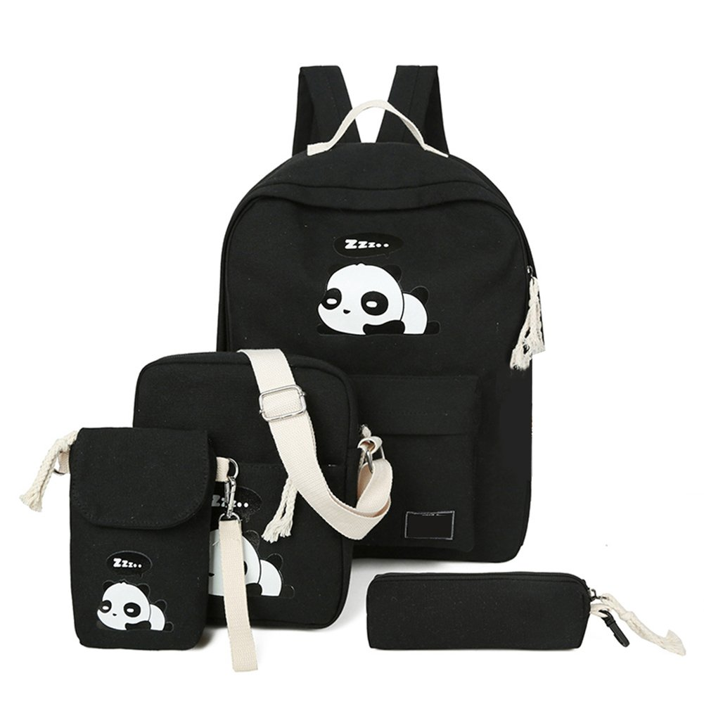 4Pcs Cute Panda Backpack Lightweight Casual Canvas School Backpacks for Teen Girls (Black)