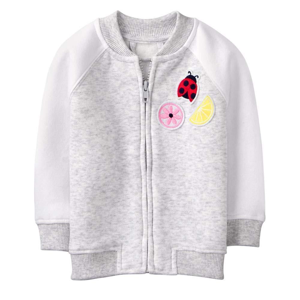 Gymboree Baby Girls Heather Grey Patch Bomber Jacket 3-6 Months