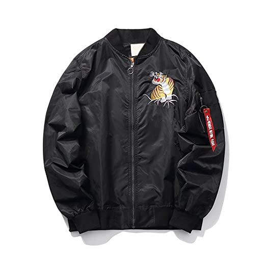 Veefpsm Tiger Embroidery Style Thinking Man Bomber Jacket New Autumn