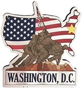 Capital City of Washington DC Iwo Jima Memorial on the USA Flag Metallic Refrigerator Magnet