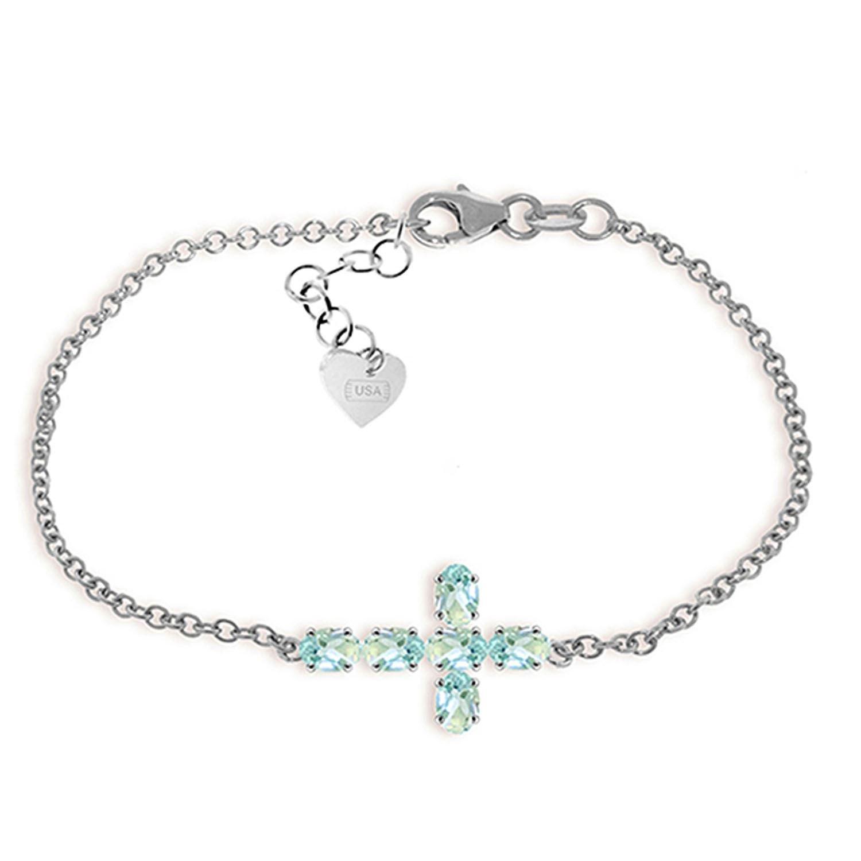 ALARRI 1.7 Carat 14K Solid White Gold Cross Bracelet Natural Aquamarine Size 9 Inch Length
