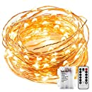 Sanniu LED Starry Fairy Lights Copper Wire Battery operated string lights with Remote,Orange Batteries Powered String Light for Home Easter Decoration,Holiday,Wedding,Party(Warm White,5m/16ft)