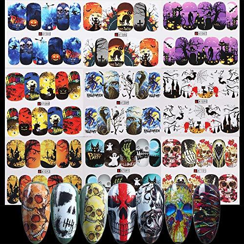 Halloween Nail Art Easy (48 Sheets Halloween Nail Art Water Transfer Decals Skull Ghost Pumpkin Sugar Skull Spider Manicure Decorations Stickers Supplies for Women Girls DIY Nail Art Design or Nail)