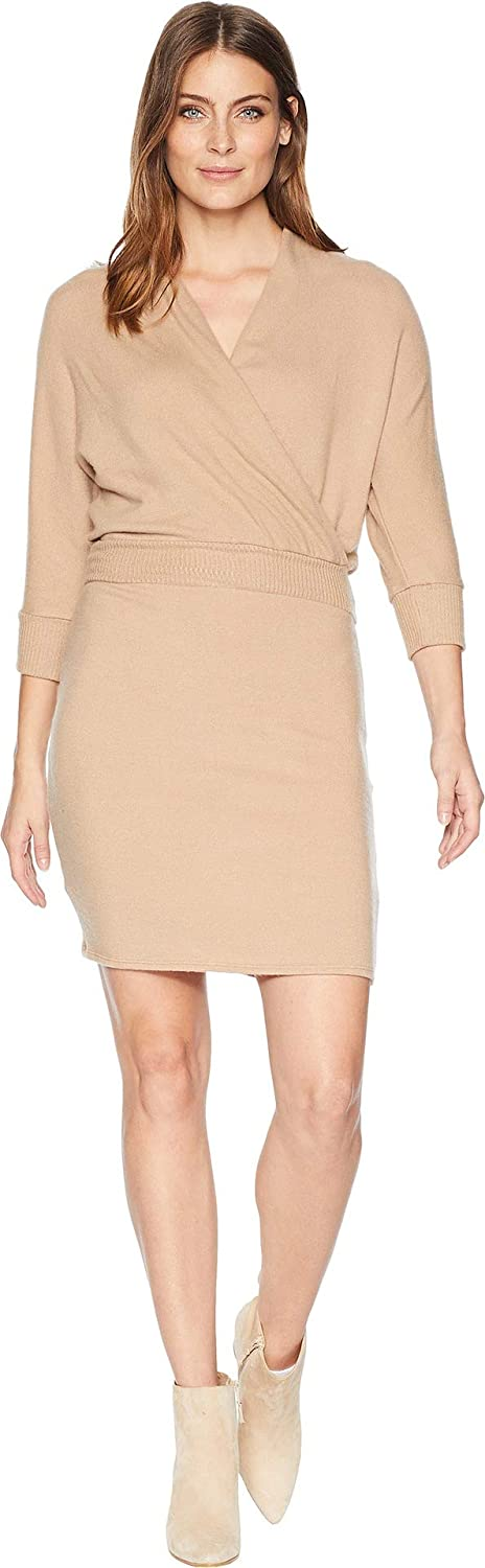 Camel Three Dots Womens Qq5862 Brushed Sweater 3 4 Sleeve Dress Dress
