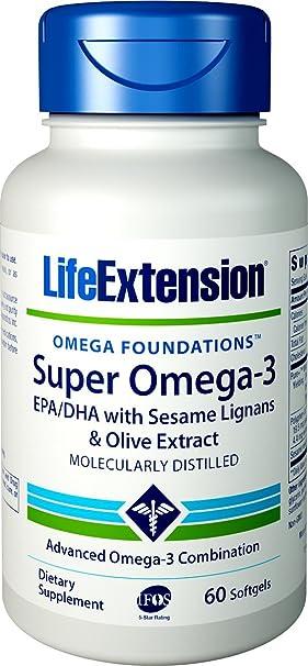Life Extension Super Omega-3 EPA/DHA Withsesame Ligans and Olive ...
