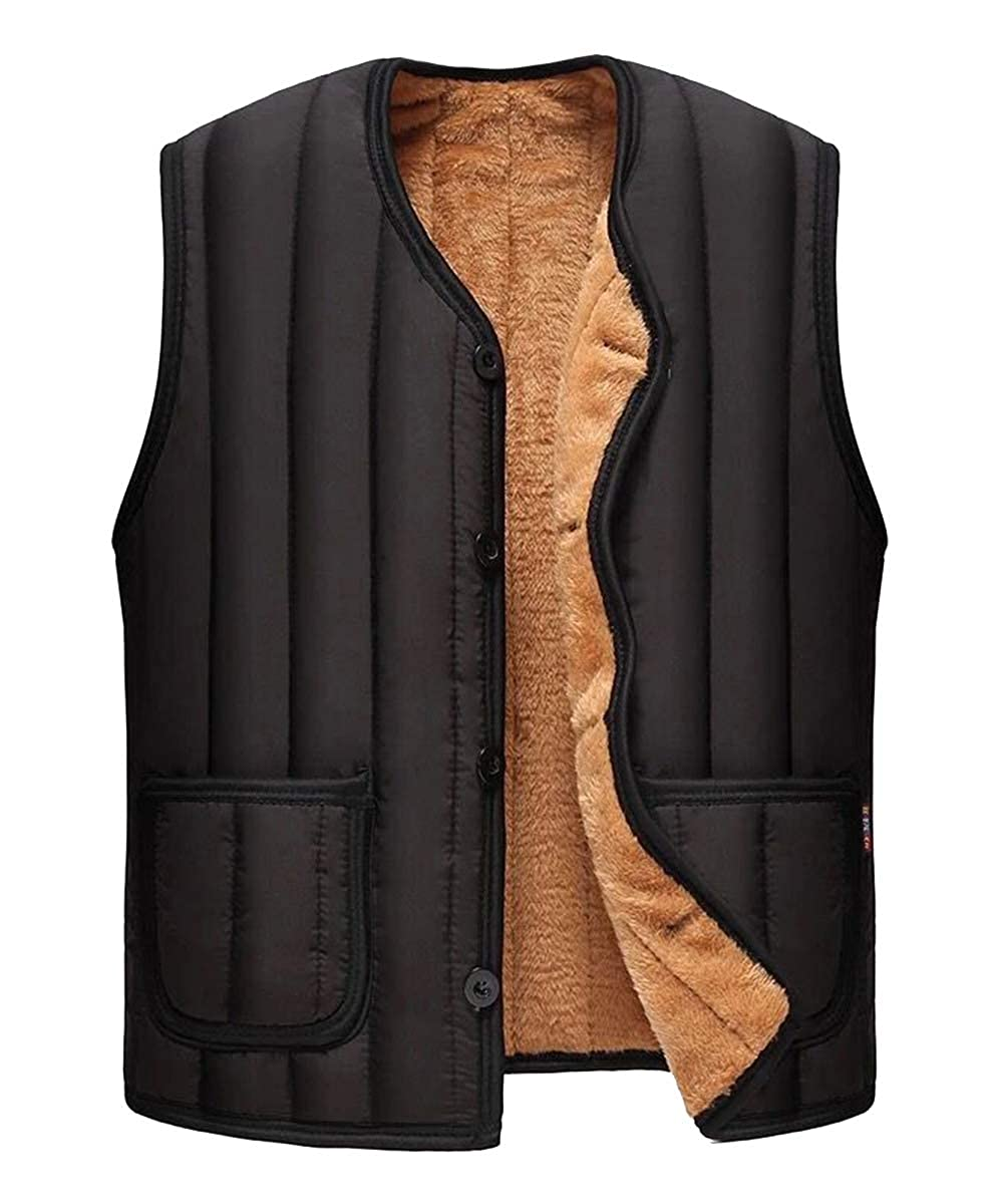 AIEOE Men's Quilted Gilet V Neck Padded Body Warmer Soft Cozy Vest