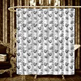 homecoco Yoga shower curtains 3D Digital Printing Bears with Various Meditation Poses Monochrome Asian Culture Inspirations Posture Bathroom Set with Hooks 36''x72'' Black White