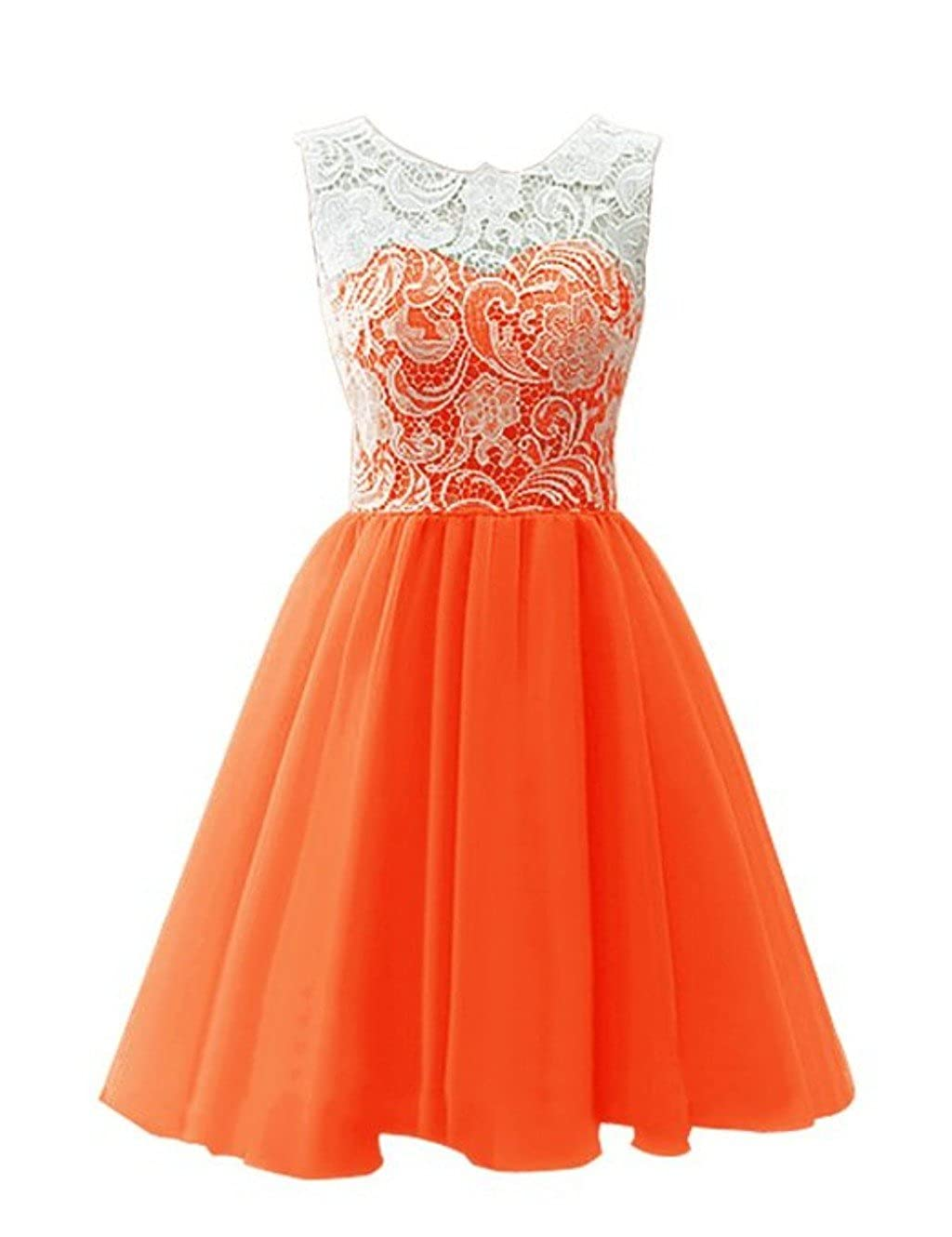 orange CCBubble Lace Homecoming Dresses O Neck Short Graduation Party Dress