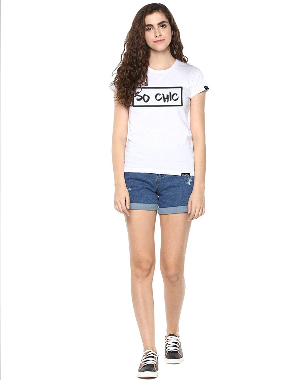 Indian Handicrafts Export Womens Hs Sochic Printed White Color Tshirts