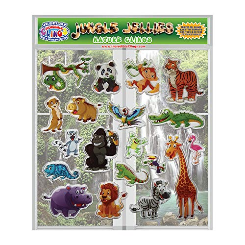 Jungle Jellies Thick Printed Gel Clings - Reusable Glass Window Clings for Kids and Adults - Incredible Gel Decals of Lion, Tiger, Alligator Home, Airplane, Classroom, Nursery Decoration