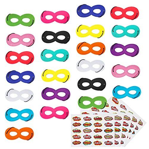 BOLASEN Superhero Masks, Superhero Party Mask, 24Pcs Mask for Kids with 100 Stickers -