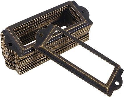 colore: rosso bronzo libreria targhette con viti L-83 x 33 mm biblioteca mensole per ufficio targhette armadietti Kyrio libreria Porta etichette in metallo per mobili cassetti