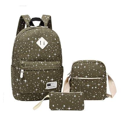 dfbd01ec5f JJSSGJBB Student backpack 3Pcs Sets Casual Women Backpacks Canvas Book Bags  Preppy Style School Bags