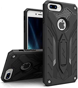 ZIZO Static Series for iPhone 8 Plus Case Military Grade Drop Tested with Kickstand iPhone 7 Plus iPhone 6s Plus Case Black Black