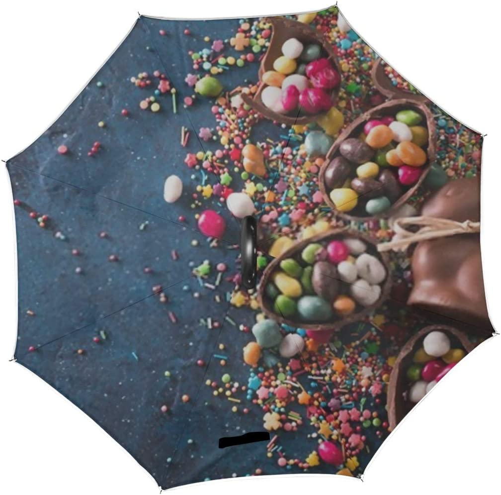 Double Layer Inverted Inverted Umbrella Is Light And Sturdy Delicious Chocolate Easter Eggs Bunny Sweets Reverse Umbrella And Windproof Umbrella Edge