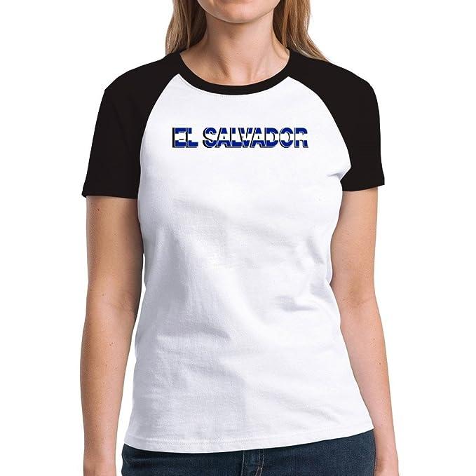 Eddany El Salvador country flag Camiseta Raglan Mujer