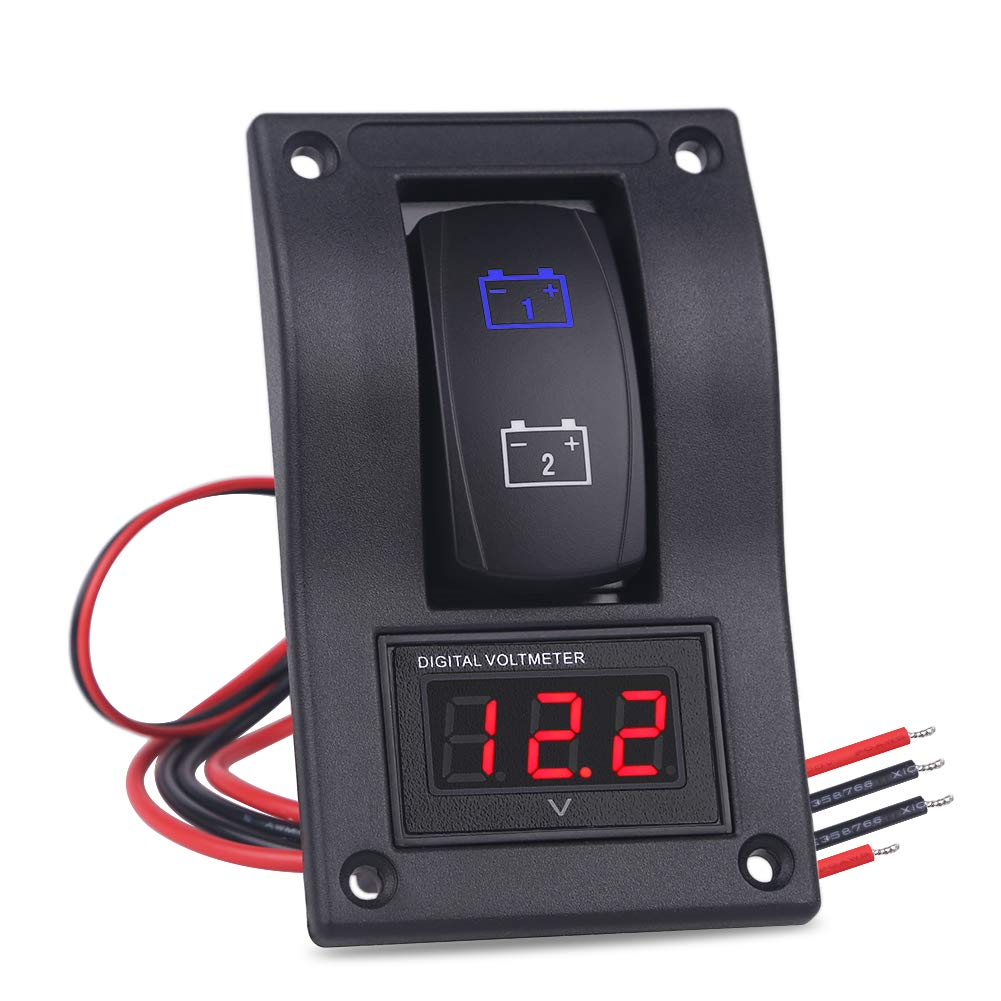 WATERWICH DC12V-24V LED Voltmeter Voltage ON-Off Buttom Ignition Dual Battery Test Panel Toggle Rocker Switch Panel for RV Car Vehicle Truck Trailer Yacht SUV Marine Boat by WATERWICH