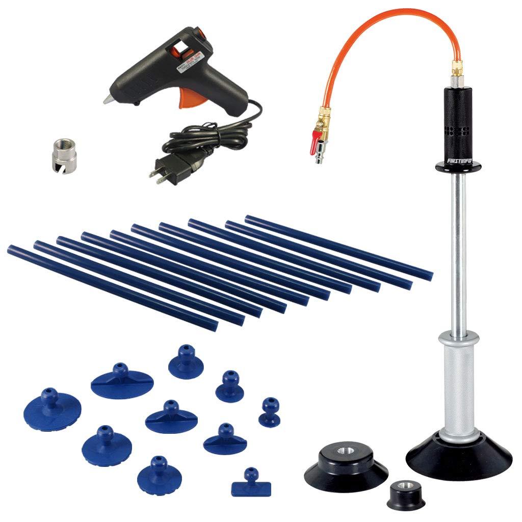FIRSTINFO Pneumatic Auto Body Dent Puller/Air Suction Vacuum Slide Hammer Paintless Dent Repair Dent Remover Car Dent Repair with 10-Piece Glue Tabs and Glue Gun/Sticks Kit
