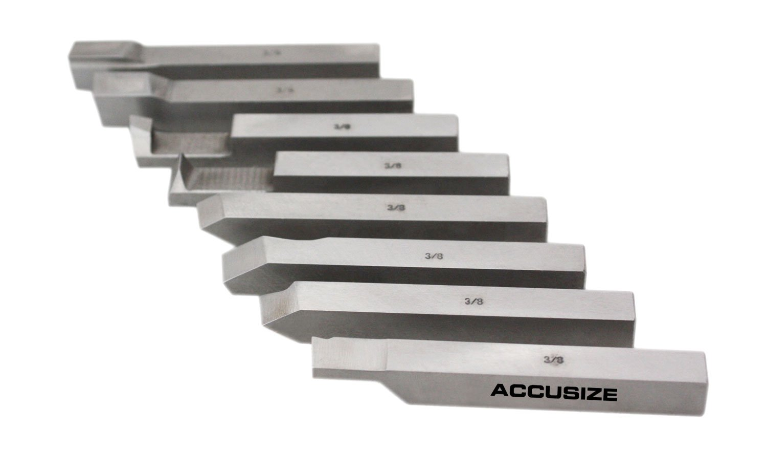 AccusizeTools - 3/8 inch 8 pcs H.S.S. Tool Bit Set, Pre-Ground for Turning & Facing Work, for Aluminum.Steel, Brass, Plastic & Wood, 2662-2003