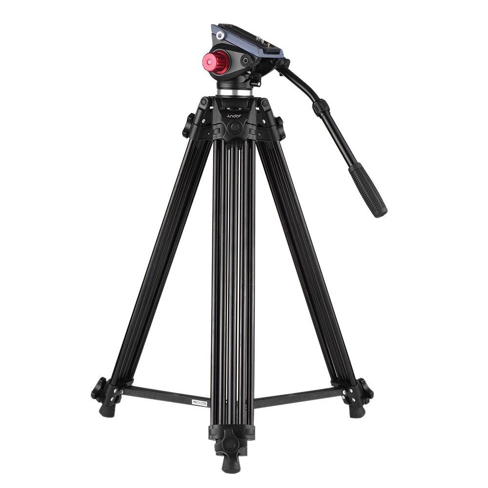 C/ámara Video Tr/ípode Carga M/áxima 10kg Aleaci/ón de Aluminio con Cabezal de Fluido 360/° Andoer 170cm Caballete Fotogr/áfico Tr/ípodes Completos para Canon Nikon C/ámara DSLR Sony Bolsa de Transporte